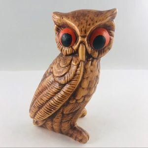 Vintage Ceramic Brown Owl Figurine